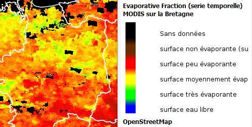 fraction d'évaporation, source MODIS / Agrocampus Ouest