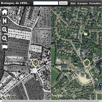 Application comparant les vues aériennes de la Bretagne en 1950 et de nos jours